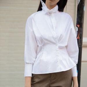 Pixie Market Tie Neck White Shirt (M)